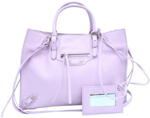 Balenciaga Calfskin Leather Mini Papier Satchel in Lavender