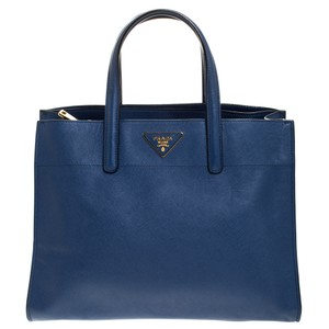 Prada Leather Nylon Tote in Blue