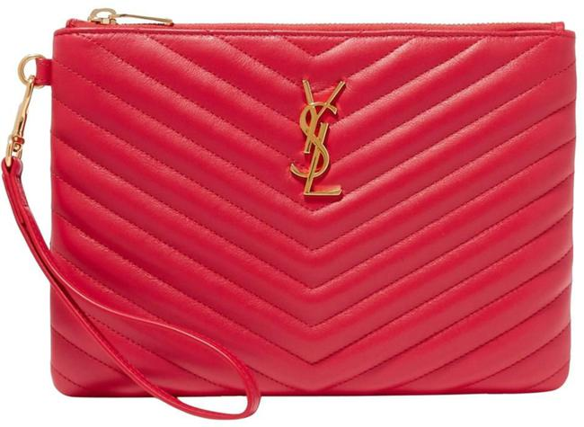 Item - Clutch Ysl Monogram Quilted Pouch Red Leather Wristlet