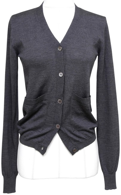 Item - Grey Sweater Knit Wool V-neck Long Sleeve 36 Cardigan Size 2 (XS)