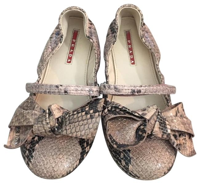 Item - Pink Snakeskin Animal Print Bow Flats Size US 5.5 Regular (M, B)