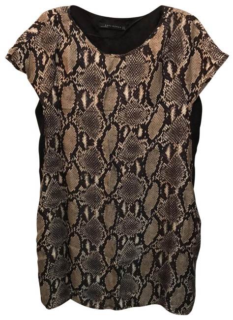 Item - Black and Snakeskin and Gray Mid-length Night Out Dress Size 6 (S)