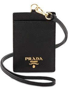 Prada Prada badge ID card holder black gold saffiano