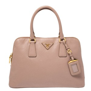 Prada Leather Nylon Satchel in Pink
