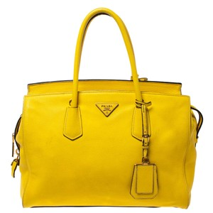 Prada Leather Canvas Tote in Yellow