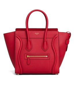 Céline Micro Micro Luggage Luggage Luggage Micro Tote in Red Drummed