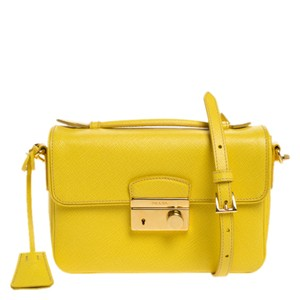 Prada Leather Yellow Clutch