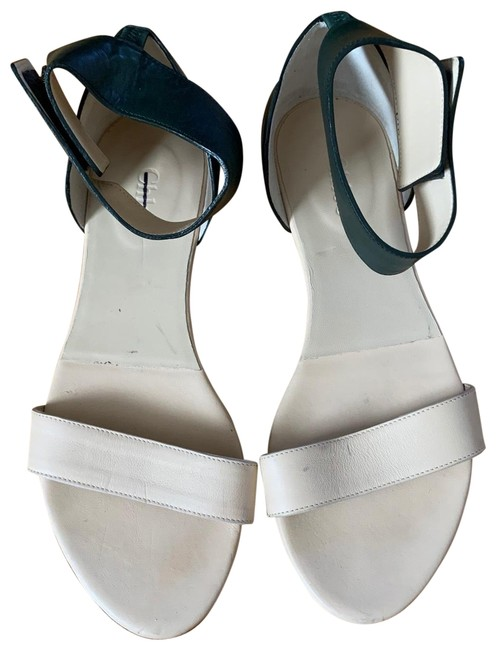 Item - Beige Cream and Green Textured Leather 367 Flat Open Toe Ankle Cuff Sandals Size US 7 Regular (M, B)