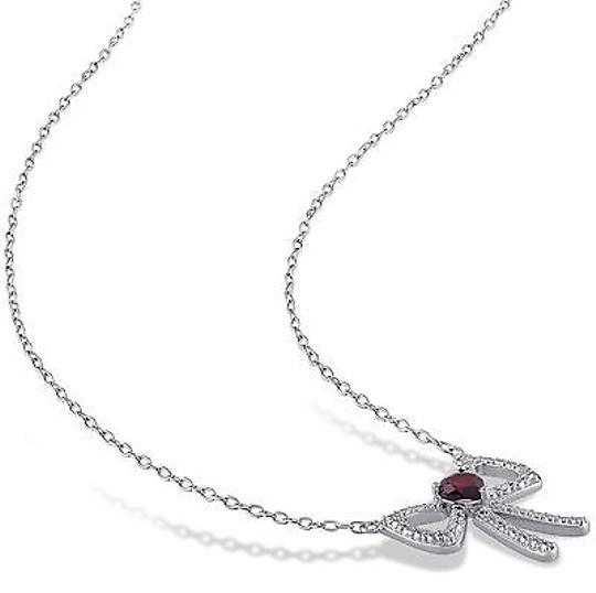 Other Sterling Silver 13 Ct Tgw Garnet Fashion Bow Heart Love Pendant Necklace