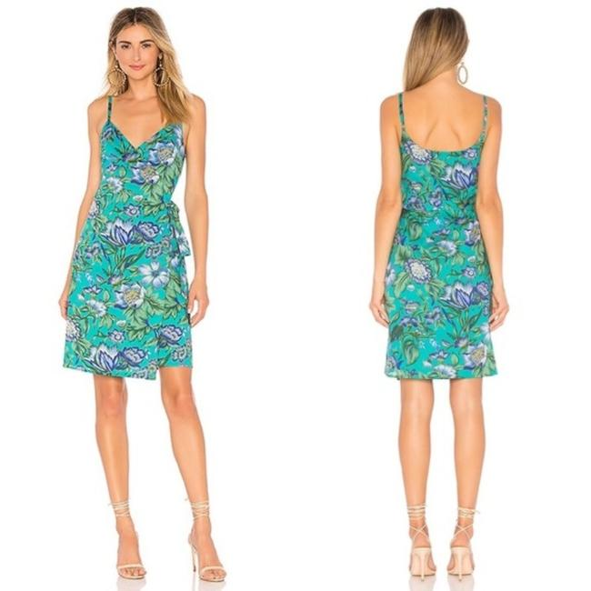 Item - Teal Island Floral L Revolve Martin Wrap Short Casual Dress Size 8 (M)