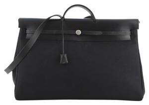 Hermes Leather Canvas Tote in Black