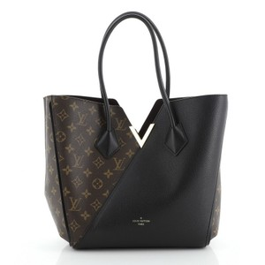 Louis Vuitton Leather Canvas Tote in black and brown