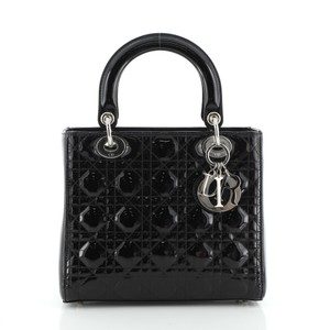 Dior Patentleather Tote Satchel in black