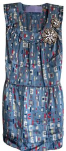Vera Wang Lavender Label Top light blue with multicolored designs