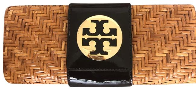 Item - Wicker Brown Patent Leather Clutch