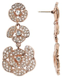 Kate Spade Kate Spade New York Disco Pansy Pave Flower Linear Drop Earrings