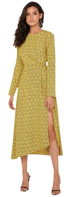 Item - Yellow C/Meo Collective Sanguine Long Sleeve Midi Mid-length Cocktail Dress Size 4 (S)