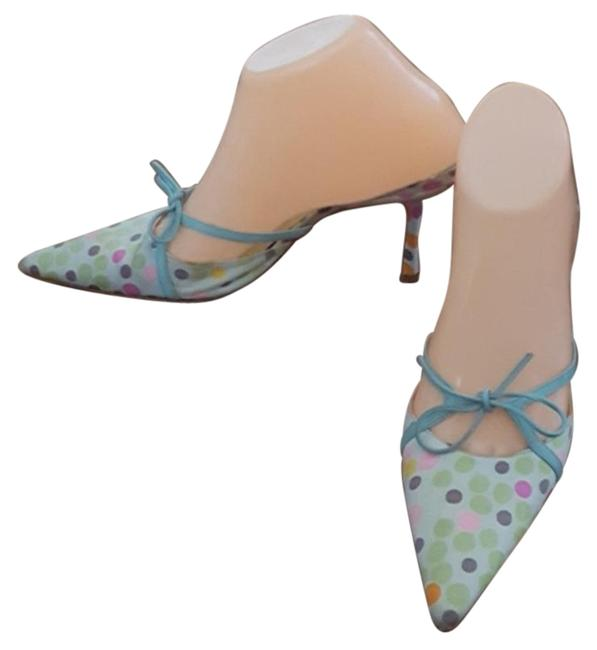 Item - Green & Blue Satin Polka Dot Mules/Slides Size EU 38 (Approx. US 8) Regular (M, B)