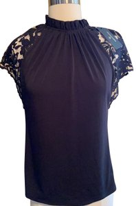 Worthington Top Black with Lace sleeves