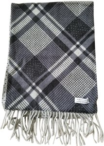 Amicale Gray Plaid and Polks Dot Reversible Cashmere Scarf