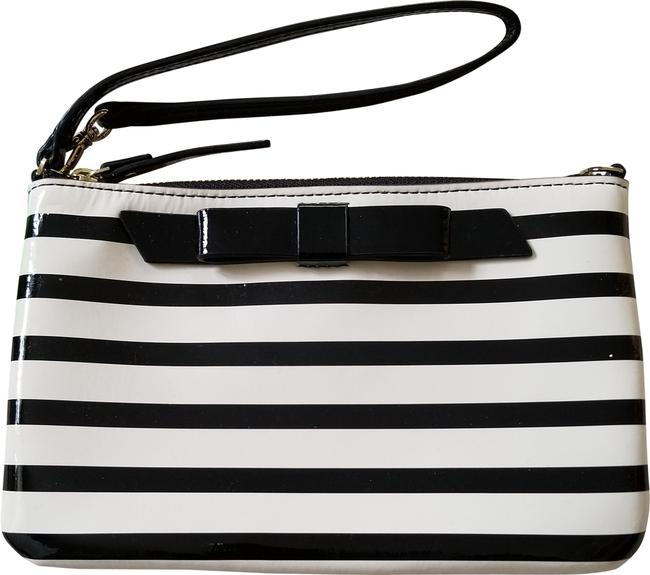 Item - Lolly Chelsea Stripe Ivory and Black Patent Leather Wristlet