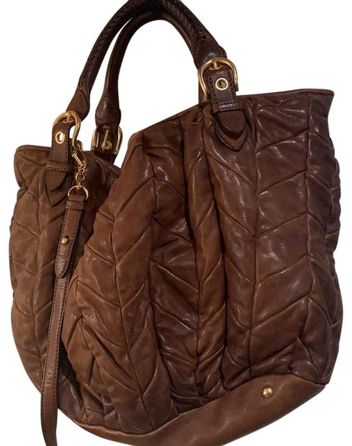 Item - Crossbody Matellasse with Strap Brown Leather Tote