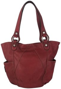 Tignanello Ships In 24 Hours Slouchy Leather Hobo Shoulder Tote in Glam Red