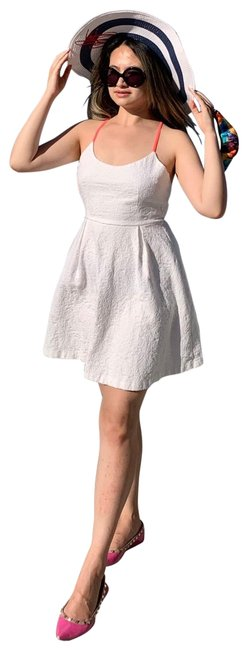 Item - White Fit and Flare with Neon Pink Straps Mid-length Short Casual Dress Size 8 (M)