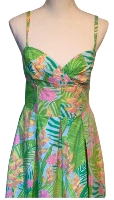 Item - Green Pink Mid-length Short Casual Dress Size 4 (S)
