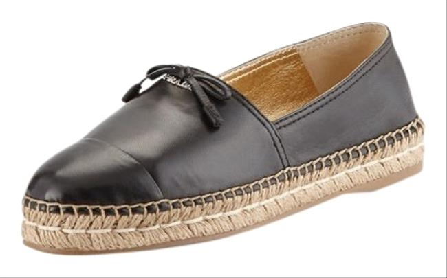 Item - Black Espadrilles Leather Cap Toe Bow Nero Lambskin Flats Size EU 39 (Approx. US 9) Regular (M, B)