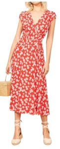 Reformation short dress Red and White Summer Spring Midi Wrap Floral on Tradesy