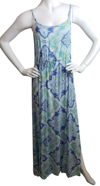 Tiare Hawaii Blue and White W Mimosa In Medium New W/Tag Long Casual Maxi Dress Size 8 (M) Tiare Hawaii Blue and White W Mimosa In Medium New W/Tag Long Casual Maxi Dress Size 8 (M) Image 1