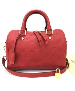 Louis Vuitton Leather Speedy Bandouliere Satchel in Red