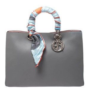 Dior Leather Large Tote in Grey