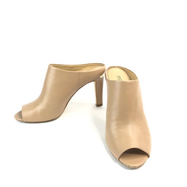 Item - Nude Women's Peep Toe Block Heel Leather Upper Open Mules/Slides Size US 7.5 Regular (M, B)