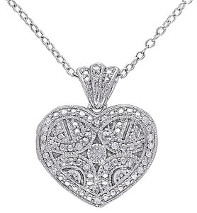 Sterling Silver Diamond Locket Heart Love Pendant Necklace Gh I2i3