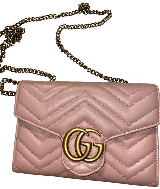 Item - Marmont Gg Chevron Quilted Flap Wallet On A Chain Pink Leather Cross Body Bag