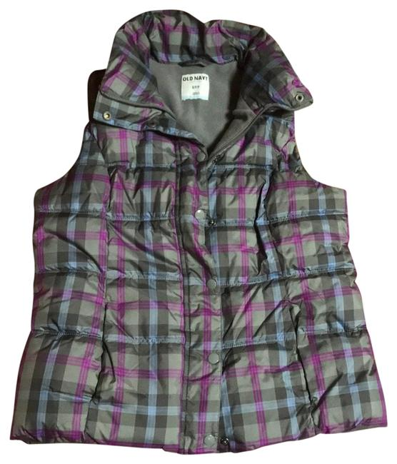 Item - Purple Plaid Flannel Lined Puffer Vest Size 6 (S)