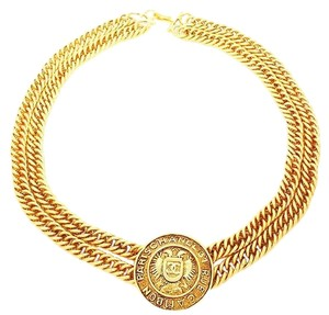 Chanel Authentic Vintage Chanel 24K Gold Plated Rare Double Chain Rue Cambon Pendant Choker