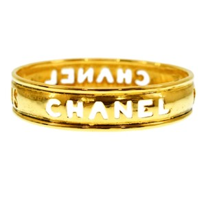 Chanel Authentic Chanel 24K Gold Plated Logo Cutout Bangle