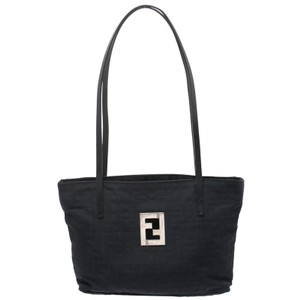 Fendi Canvas Leather Nylon Tote in Black