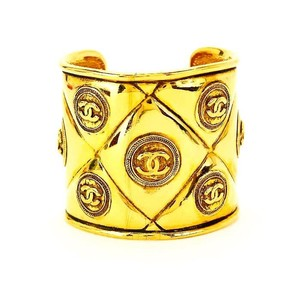 Chanel Authentic Vintage Chanel Gold Plated CC Motif Cuff Bracelet