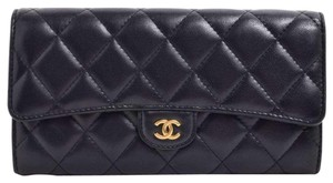 Chanel Chanel Lamb Matelasse Long Bi-Fold Wallet Black