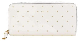Christian Dior Christian Dior Leather Star Pattern Round Long Wallet