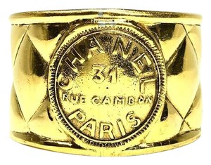 Chanel Authentic Vintage Chanel Gold Plated Rue Cambon Cuff Bracelet