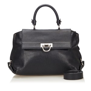 Ferragamo 8bfrst002 Vintage Leather Satchel in Black