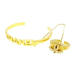 Chanel Authentic Chanel Rare Gold Plated Logo Bangle w/ Chain Attached Crystal CC Ring