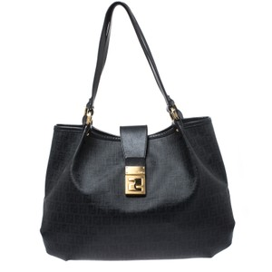 Fendi Nylon Coated Canvas Leather Tote in Black