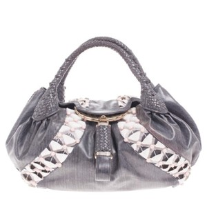 Fendi Canvas Leather Tote in Grey