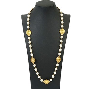 Chanel Chanel Necklace Artificial pearl GP Plated Gold Color Long Vintage Old Chanel